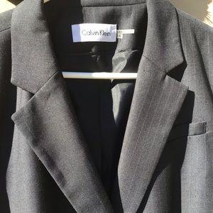 Grey Pinstripe Calvin Klein Size 16 Blazer
